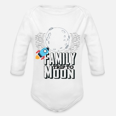 Family Trip Family Trip To Moon - Organic Long-Sleeved Baby Bodysuit