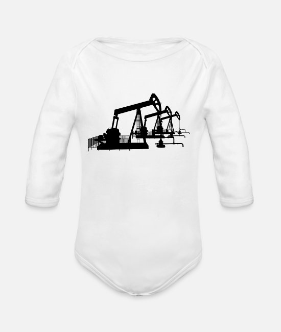 Industry Baby Bodysuits - Oil pumps, oil production, oil production, oil - Organic Long-Sleeved Baby Bodysuit white