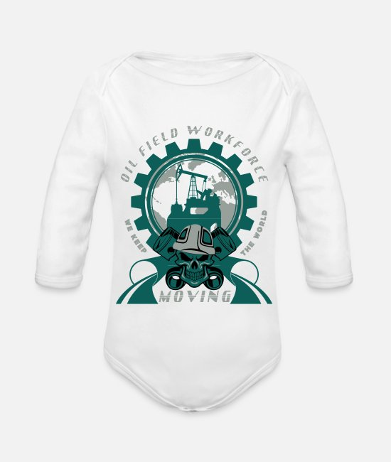 Rig Baby Bodysuits - Oil Rig North Sea Aberdeen Scotland - Organic Long-Sleeved Baby Bodysuit white