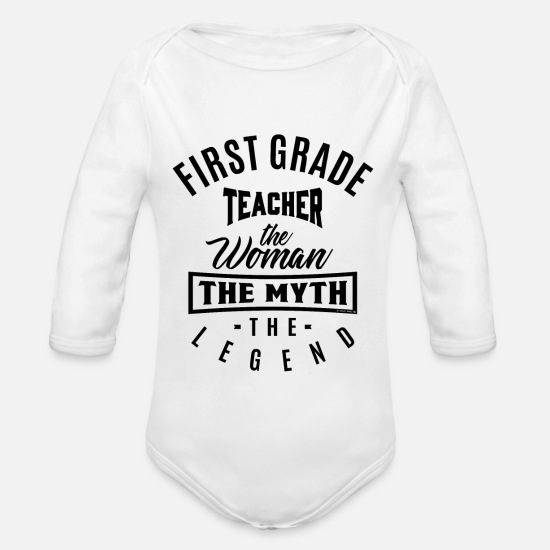 Back To School Baby Clothes - First Grade Teacher Legend - Organic Long-Sleeved Baby Bodysuit white