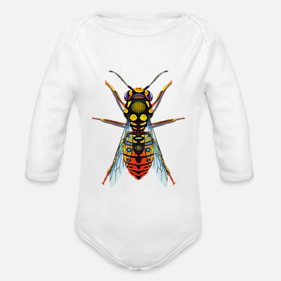 Pest Baby Clothes - Wasp Geometric Design Graphic - Organic Long-Sleeved Baby Bodysuit white