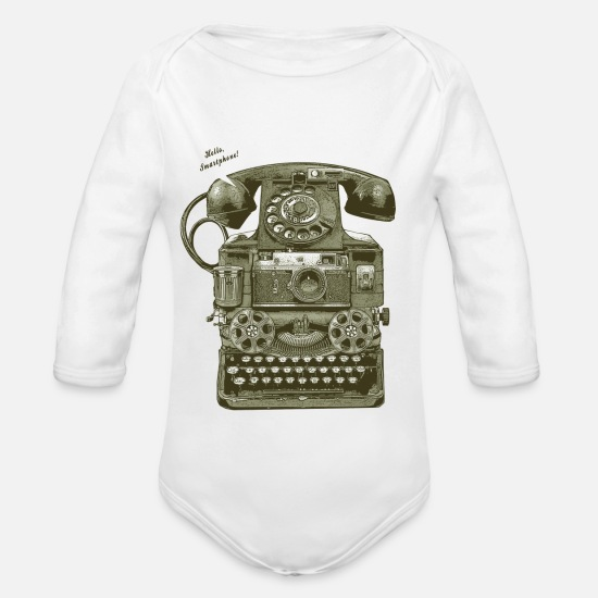 Vintage Baby Clothes - THE 1ST SMARTPHONE - Organic Long-Sleeved Baby Bodysuit white