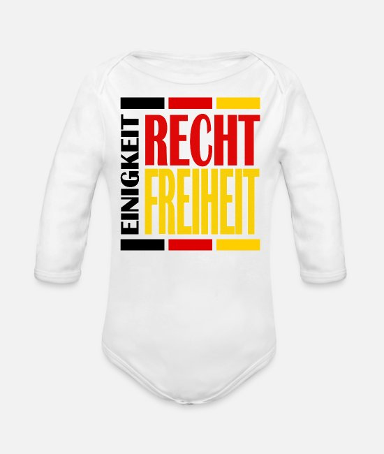 Freedom Baby Clothes - UNITY RIGHT LIBERTY - Organic Long-Sleeved Baby Bodysuit white