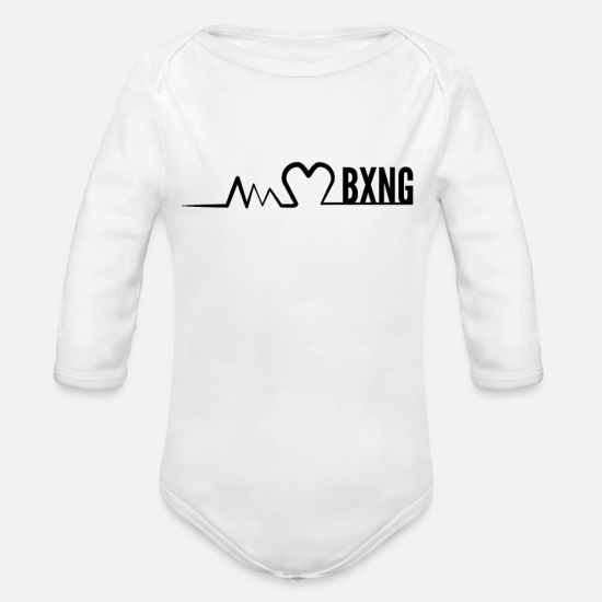 Gift Idea Baby Clothes - I love boxing ECG - Organic Long-Sleeved Baby Bodysuit white