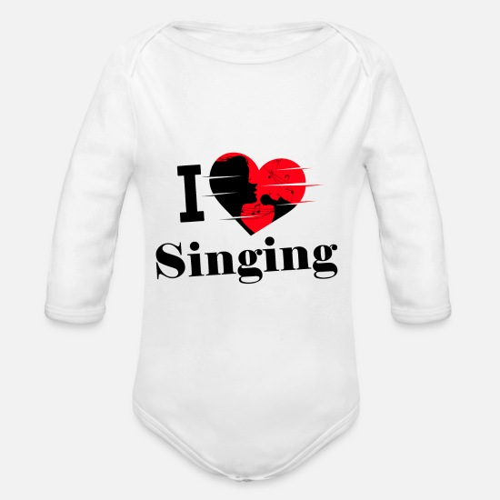 Love Baby Clothes - I love singing / singing / singing - Organic Long-Sleeved Baby Bodysuit white