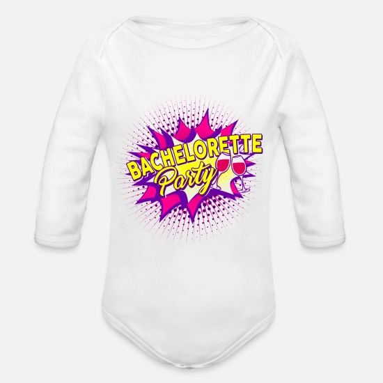 Bride Baby Clothes - Bachelor Party Bachelorette Party - Organic Long-Sleeved Baby Bodysuit white