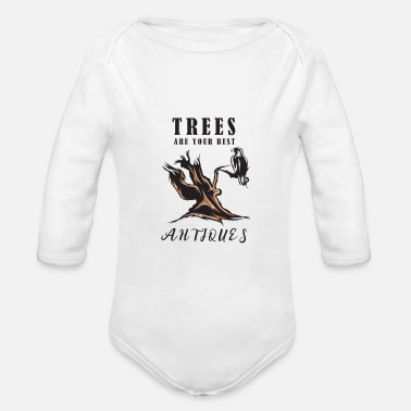 Tree trees antique - Organic Long-Sleeved Baby Bodysuit