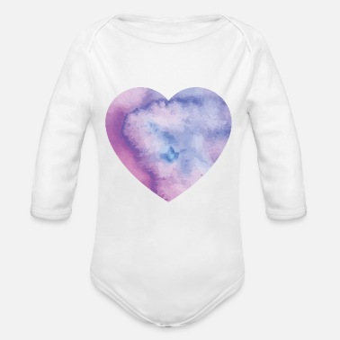 Logo watercolor hearts - Body Bébé bio manches longues
