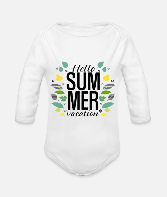 Travel Baby Bodysuits - Hello Summer Vacation - Organic Long-Sleeved Baby Bodysuit white