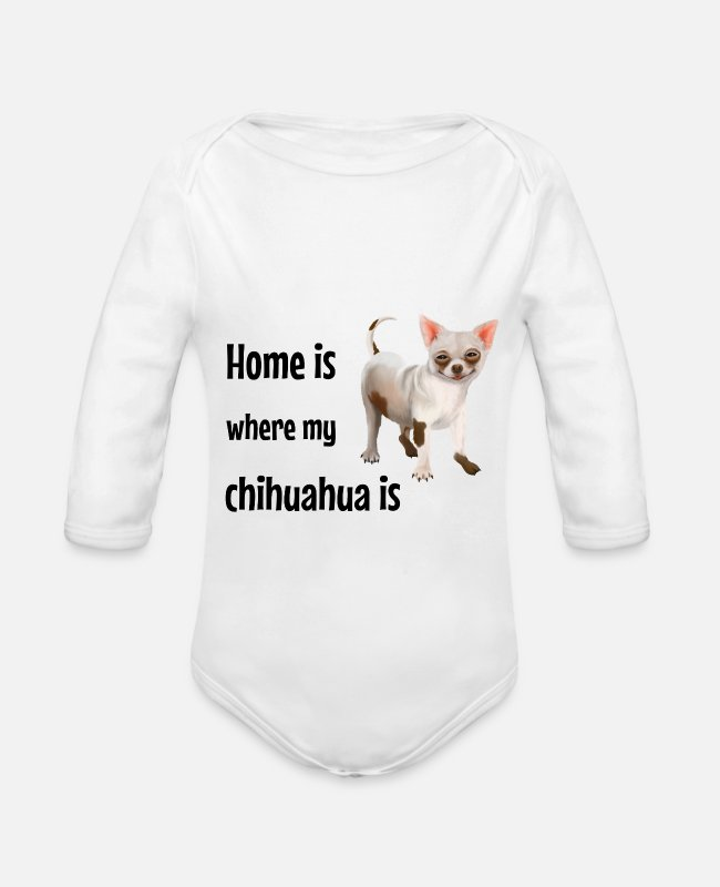 Doggie Baby Bodysuits - Chihuahua - Don't mind the dog beware of the owner - Organic Long-Sleeved Baby Bodysuit white