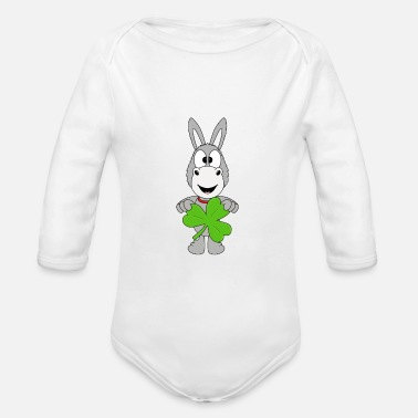Kiss Me Im Funny donkey - ace - shamrock - luck - Organic Long-Sleeved Baby Bodysuit