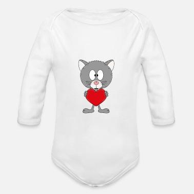 Fashion Funny cat - heart - love - love - animal - fun - Organic Long-Sleeved Baby Bodysuit
