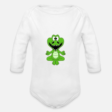 Heart Funny crocodile - yoga - chilling - relaxing - fun - Organic Long-Sleeved Baby Bodysuit