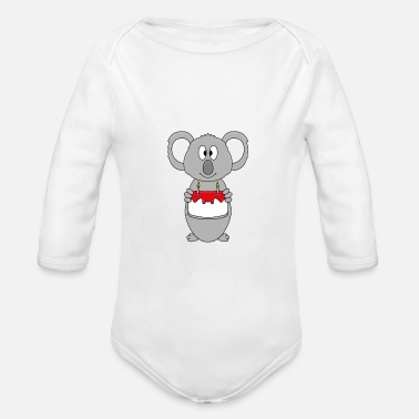 Humour Funny koala - birthday - cake - animal - fun - Organic Long-Sleeved Baby Bodysuit