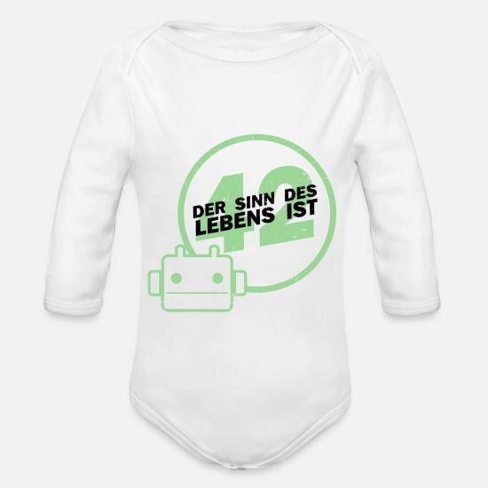 Robot Baby Clothes - Sense 42 - Organic Long-Sleeved Baby Bodysuit white