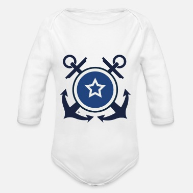 Navy Badge - Navy - Baby bio-rompertje met lange mouwen