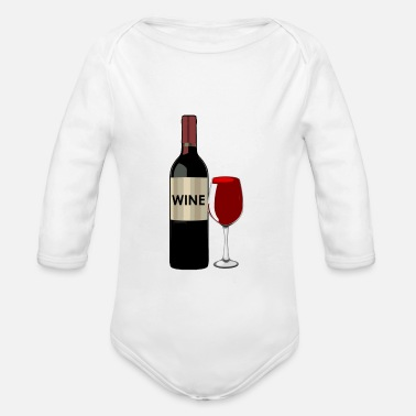 Wine red wine - Organic Long-Sleeved Baby Bodysuit