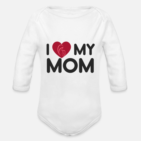 I Love Mom Bebiskläder - I Love My Mom Mothers Day Gift - skjorta - Ekologisk långärmad babybody vit