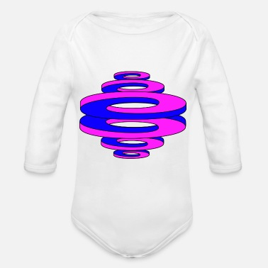 Curves Optical illusion (curved curves / circles) - Organic Long-Sleeved Baby Bodysuit