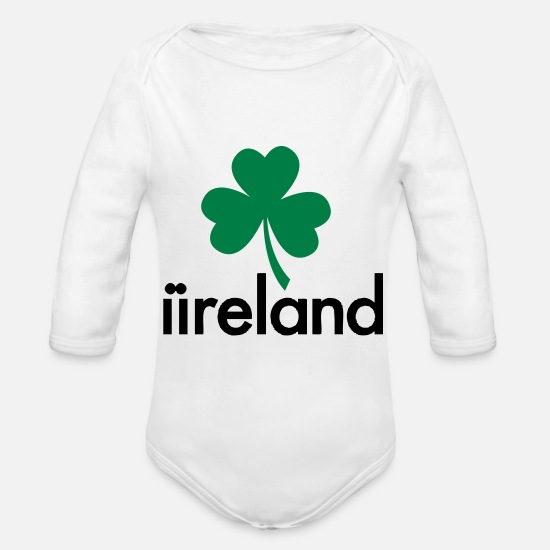 Green Baby Clothes - Ireland - St. Patrick's Day - Organic Long-Sleeved Baby Bodysuit white