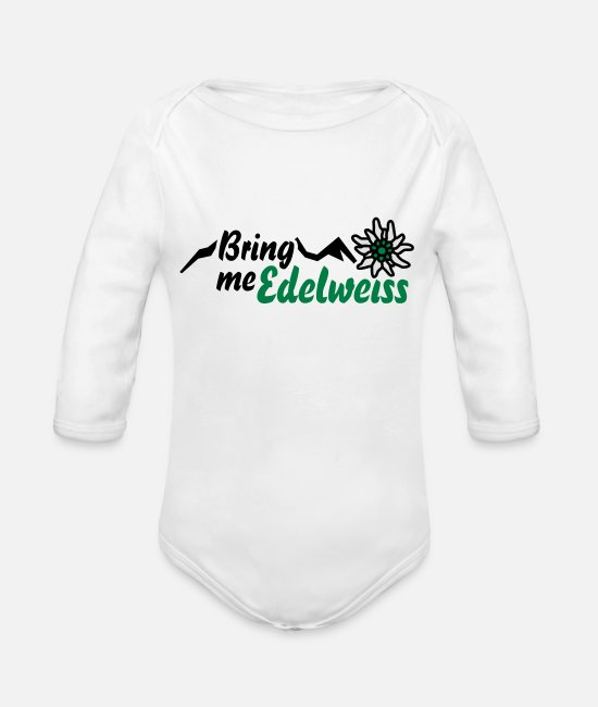 "Shopping Baby Clothes - T-Shirt ""Bring me Edelweiss"" for Oktoberfest, - Organic Long-Sleeved Baby Bodysuit white"
