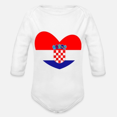 Croatia Croatia flag, Croatia, Croatia heart - Organic Long-Sleeved Baby Bodysuit