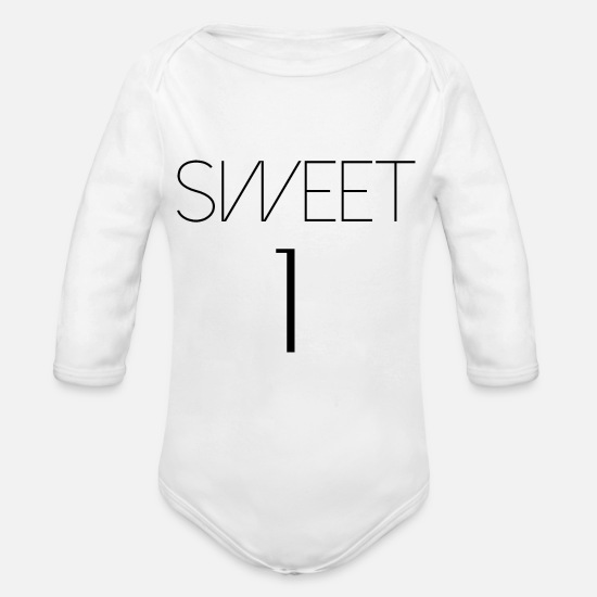 Birthday Baby Clothes - sweet 1 - Organic Long-Sleeved Baby Bodysuit white