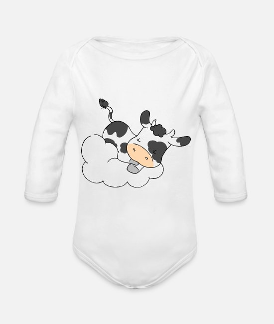 Dream Baby Bodysuits - Cow Sleeping on Cloud - Organic Long-Sleeved Baby Bodysuit white