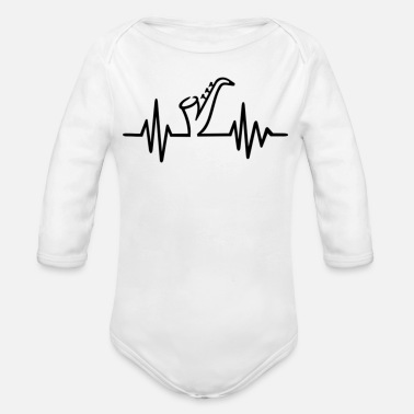 Saxophone heartbeat - Organic Long-Sleeved Baby Bodysuit