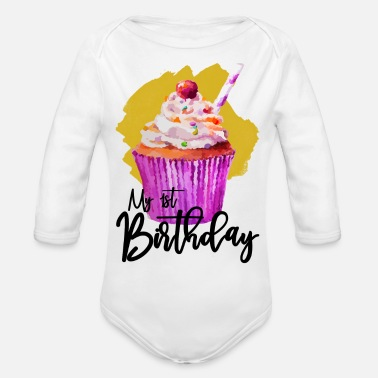 Running My First Birthday Girl - Organic Long-Sleeved Baby Bodysuit