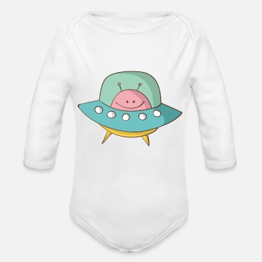 Saucer flying saucer - Organic Long-Sleeved Baby Bodysuit