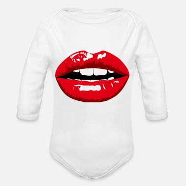 Red Lips Red lips - Organic Long-Sleeved Baby Bodysuit