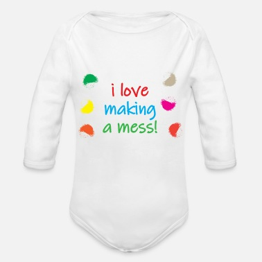Make A Mess i love making a mess - Organic Long-Sleeved Baby Bodysuit