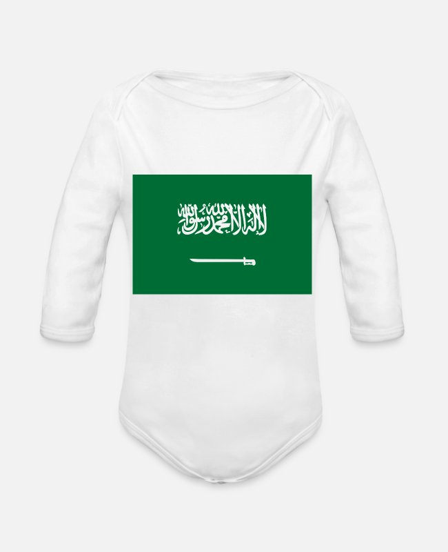 Saudi Arabia Baby Bodysuits - National Flag Of Saudi Arabia - Organic Long-Sleeved Baby Bodysuit white