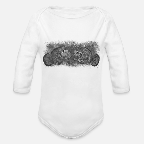 Love Baby Clothes - Romantic Dragonette couple - Organic Long-Sleeved Baby Bodysuit white