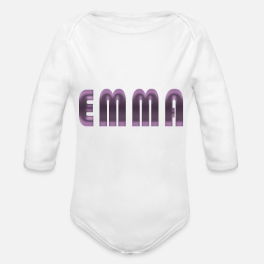 Name Day Emma name first name name day birth gift idea - Organic Longsleeve Baby Bodysuit