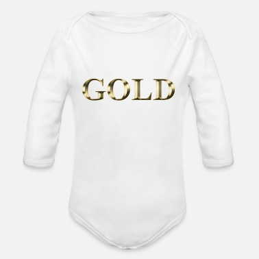 Gold gold - Organic Long-Sleeved Baby Bodysuit