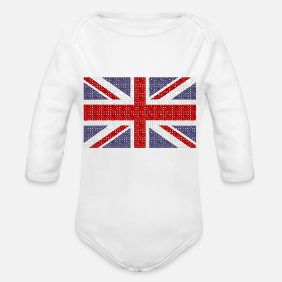 United Kingdom Baby Clothes - Flag of the united kingdom union - Organic Long-Sleeved Baby Bodysuit white
