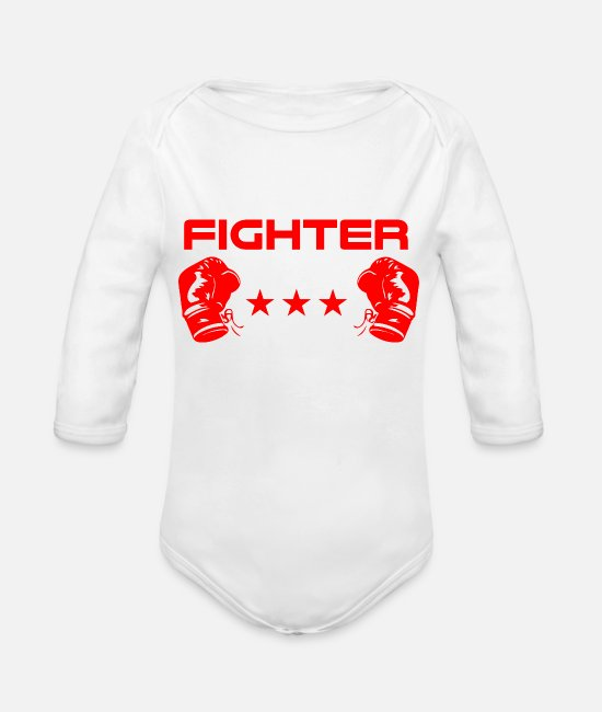 Mma Baby Clothes - Fighter boxer fighter - Organic Long-Sleeved Baby Bodysuit white