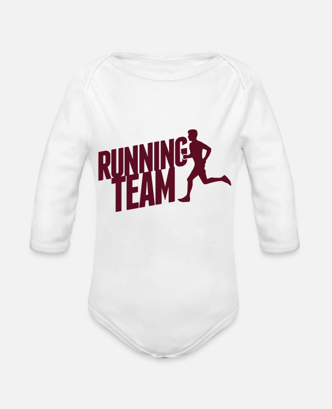 Speed Baby Bodysuits - Running Team - Organic Long-Sleeved Baby Bodysuit white