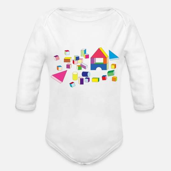 Play Baby Clothes - Building blocks - Organic Long-Sleeved Baby Bodysuit white