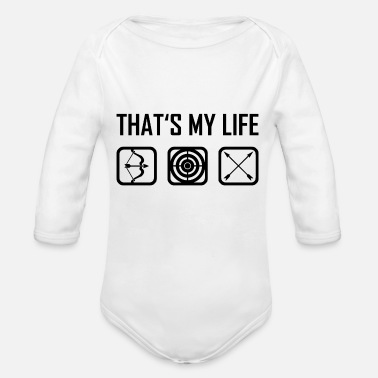 This is my life - bow arrow bow arrows - Organic Long-Sleeved Baby Bodysuit