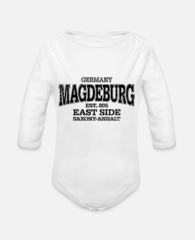 Sport Baby Bodysuits - Magdeburg black (oldstyle) - Organic Long-Sleeved Baby Bodysuit white