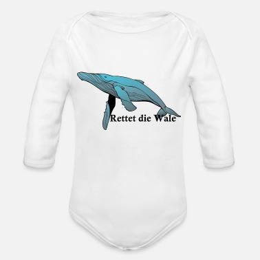 Save The Whales Whale with spell Save the whales - Organic Long-Sleeved Baby Bodysuit