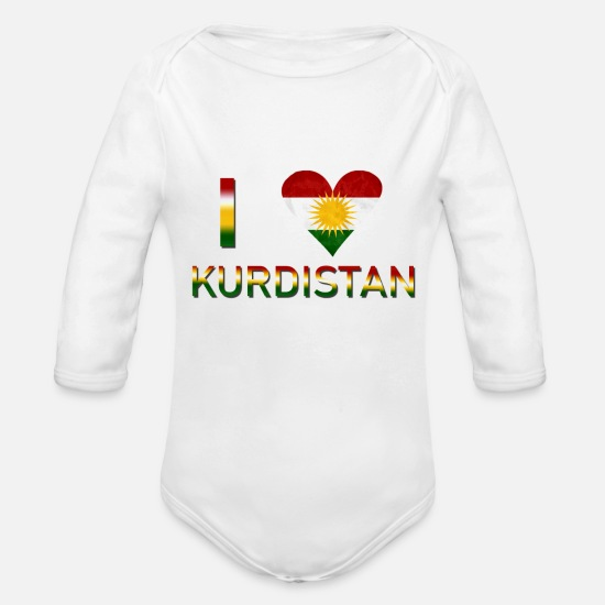 Love Baby Clothes - I LOVE KURDISTAN - Organic Long-Sleeved Baby Bodysuit white