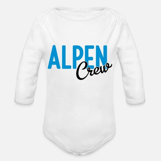 Group Baby Clothes - Alps crew - Organic Long-Sleeved Baby Bodysuit white