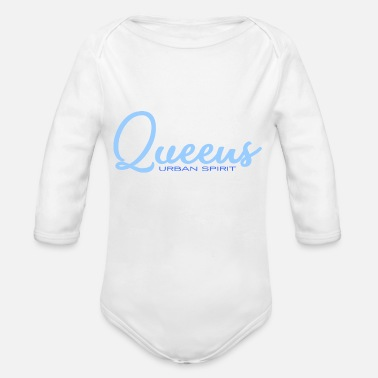 Queens - Urban Spirit - Streetwear - NYC New York - Organic Long-Sleeved Baby Bodysuit