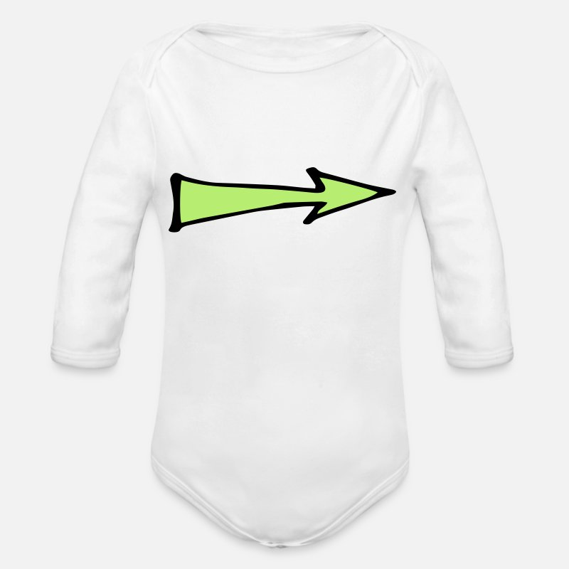 Arrow And Bow Baby Clothes - arrow - Organic Long-Sleeved Baby Bodysuit white
