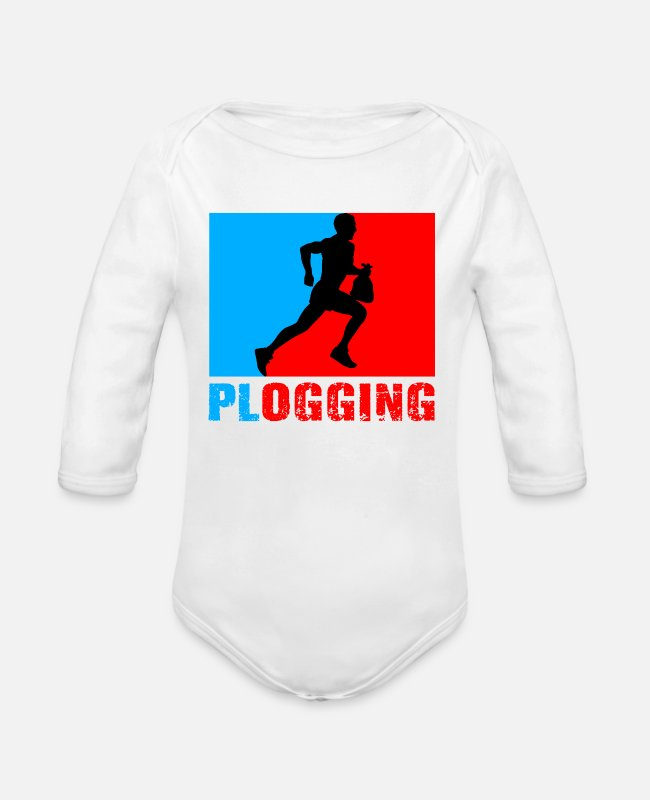 Red Sox  Baby Bodys - Blue and Red Plogging - Baby Bio Langarmbody Weiß
