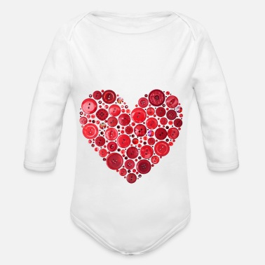Red Red Button Heart Print - Organic Long-Sleeved Baby Bodysuit